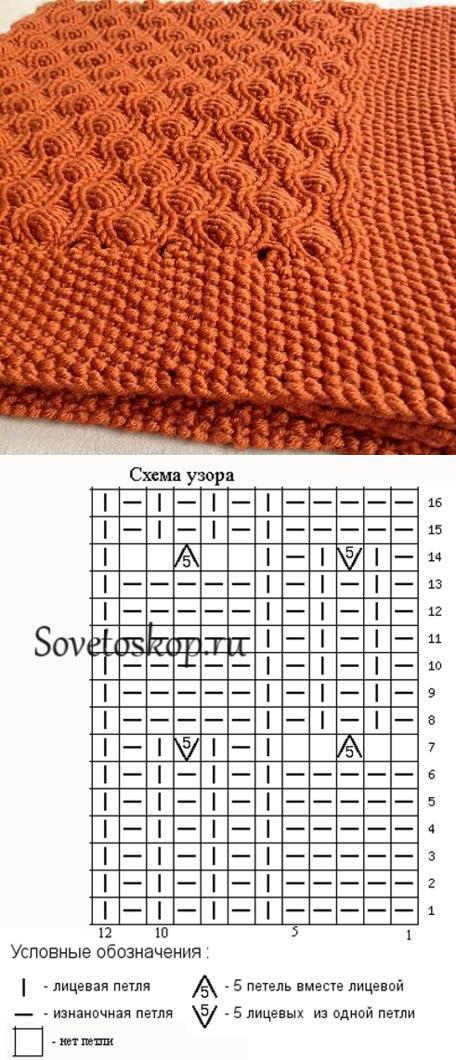 УЗОРЫ СПИЦАМИ | Dos agujas, Manta y Muestras de crochet