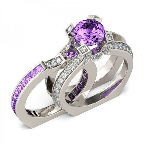 Fancy Lilac Amethyst Brilliant Cut Two-in-One Sterling Silver Engagement Ring / Bridal Ring Set