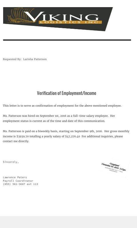 Income Employment letter Verification Documents Pinterest - income verification letter
