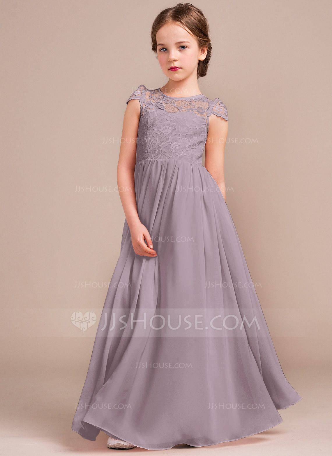 reliable quality shoes for cheap elegant appearance A-Line/Princess Scoop Neck Floor-Length Chiffon Lace Junior ...