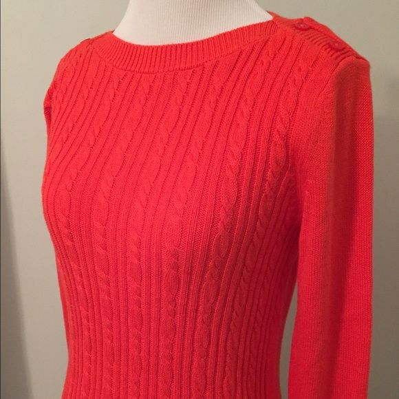 Banana Republic soft lightweight sweater Beautiful bright orange BR crew neck cable knit sweater. Excellent condition. 2 button detail on shoulders. NO TRADES Banana Republic Sweaters Crew & Scoop Necks