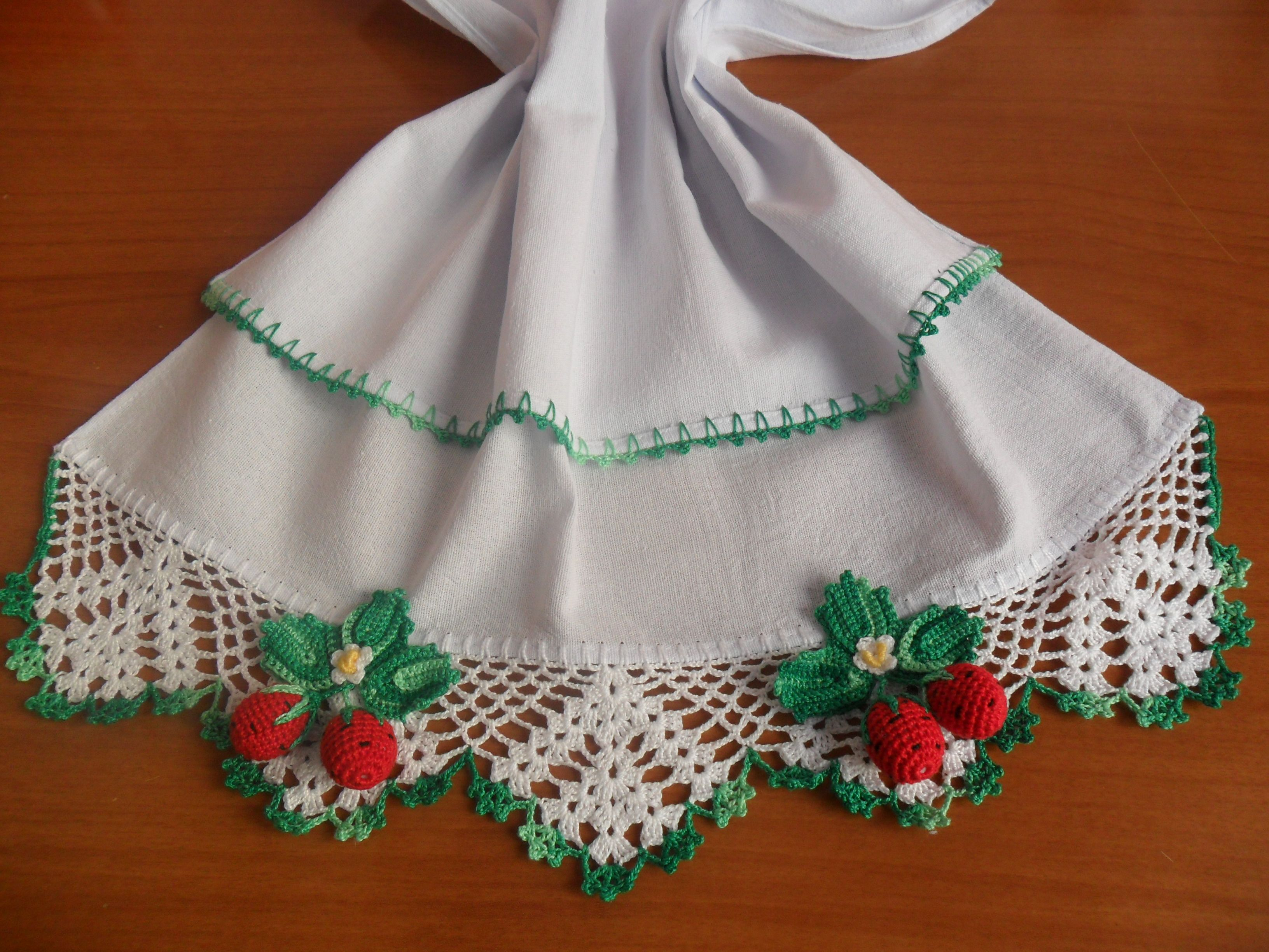 Pano De Prato Morango Barrado Em Croche Jpg 3 264 2 448 Pixeis