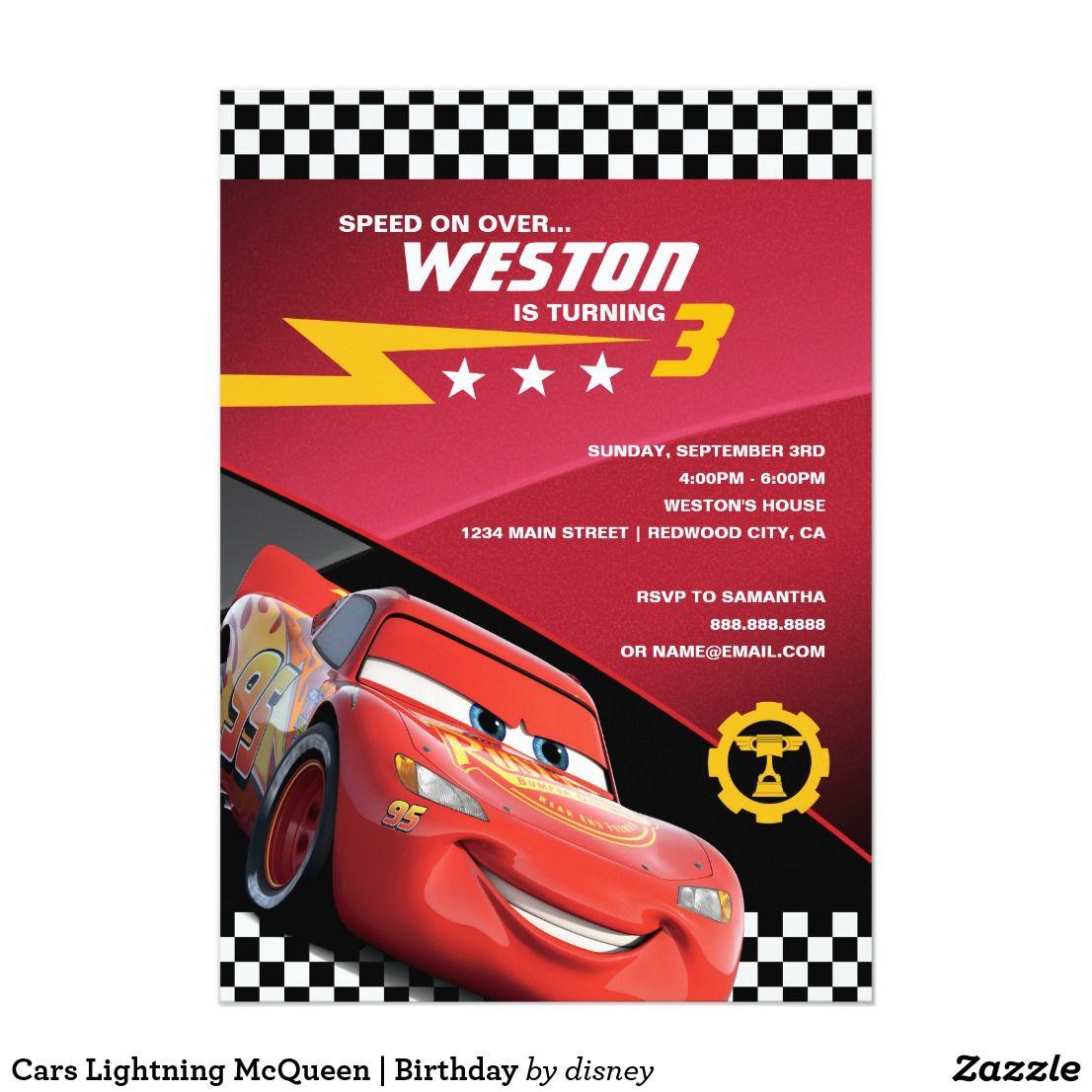 Invitacion Relampago De Autos Mcqueen Cumpleanos Zazzle Com Cars Birthday Invitations Lightning Mcqueen Cars Birthday Parties