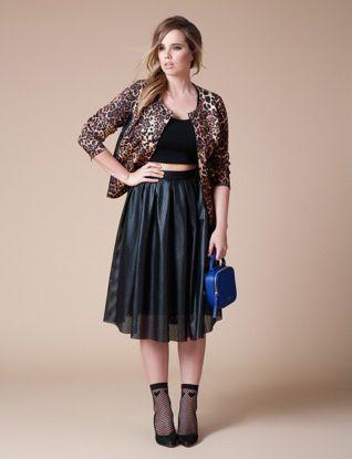 Leopard Jacket Scoop Neck Crop Tee Studio Perforated Faux Leather Midi Skirt
