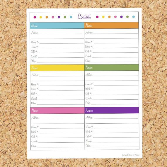 Printable Contacts Address Book Page Bright por SimpleJoysOfHome