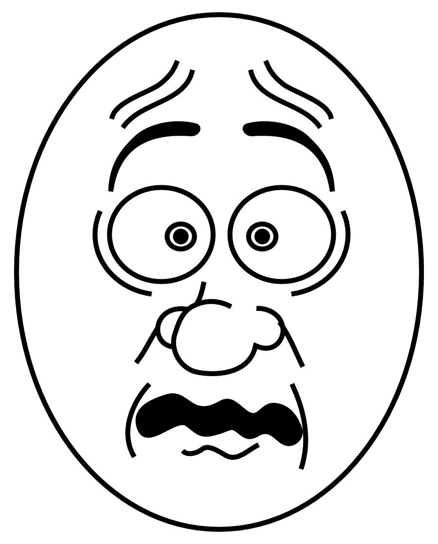 Scared Face Kids Coloring Page