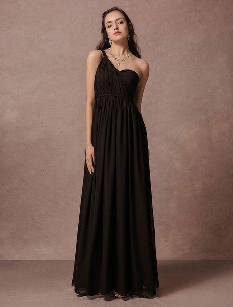 Black floor length one shoulder bridesmaid dresses