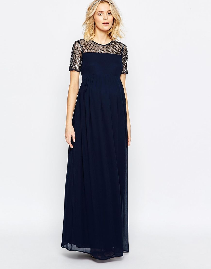 Image 4 of maya maternity chiffon embellished maxi dress for Navy blue maxi dress for wedding