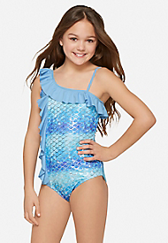 fcf86b88348 from JUSTICE ....One Shoulder Ruffle Mermaid One Piece ...size 6/7 ...