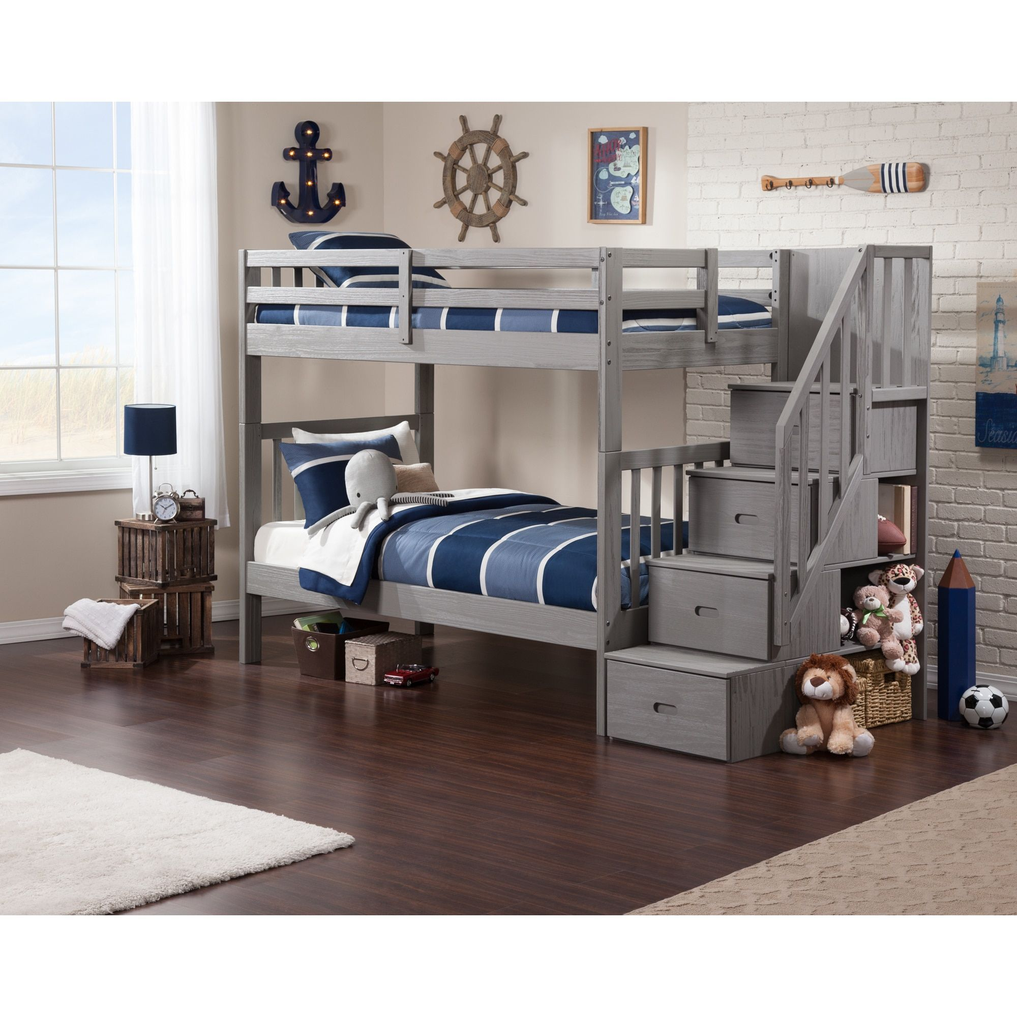 Atlantic Cascade Staircase Brushed Grey Twin Over Twin Bunk Bed