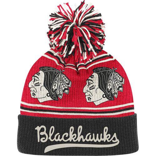 ac4158618b1 Chicago Blackhawks Cuffed Knit Pom Hat by Reebok  21.95