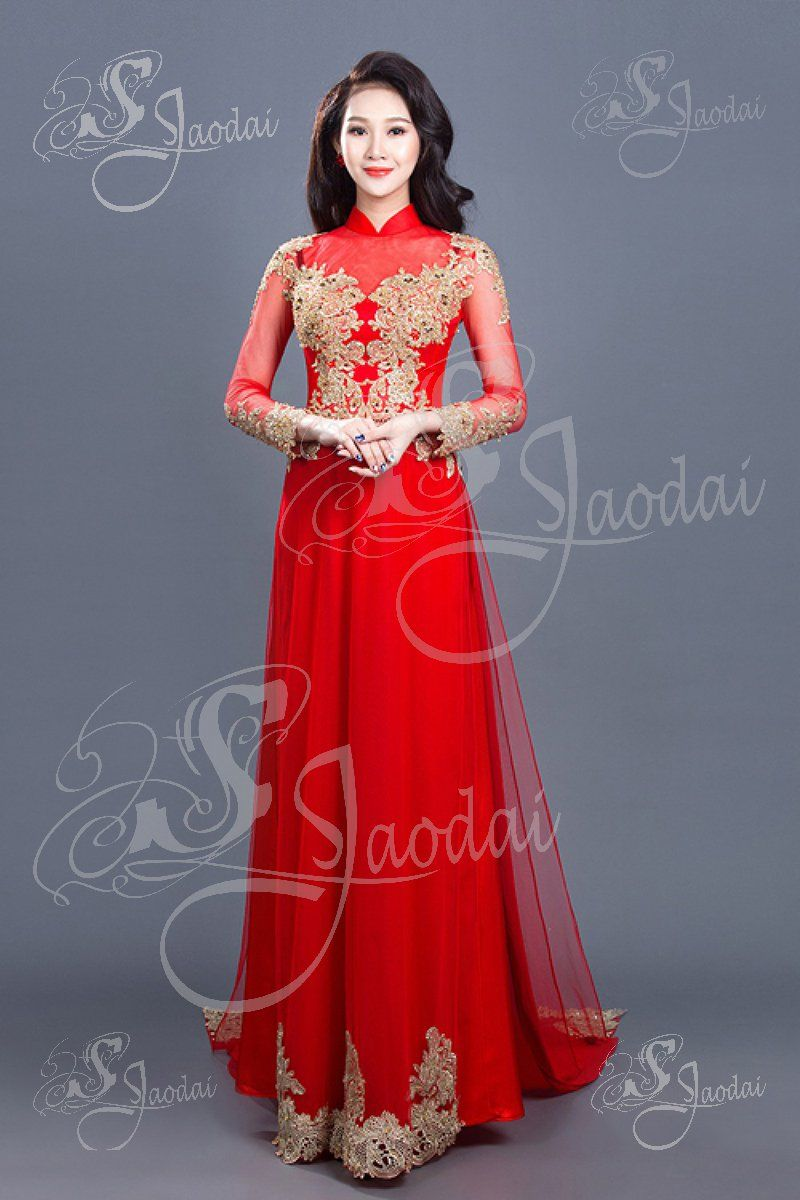 Aodai Vietnamese longdress wedding red ao dai size M, S ...