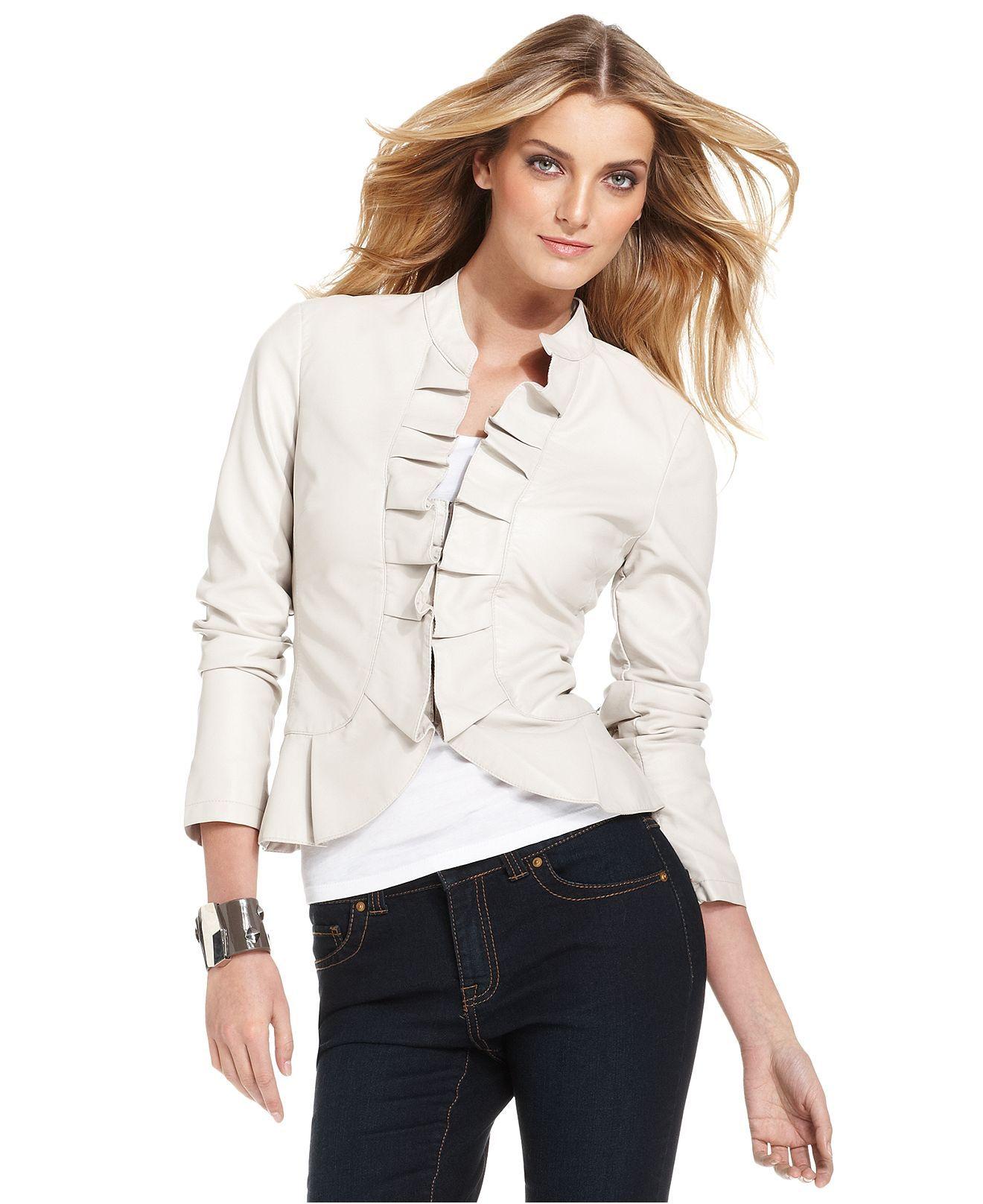 INC International Concepts Jacket, FauxLeather Ruffle