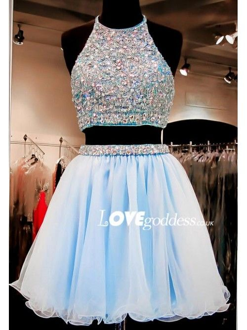 be24136f2fc 2016 Light Blue High Two Piece Cocktail Dress With Crystal - Prom Dresses -  Lovegoddess