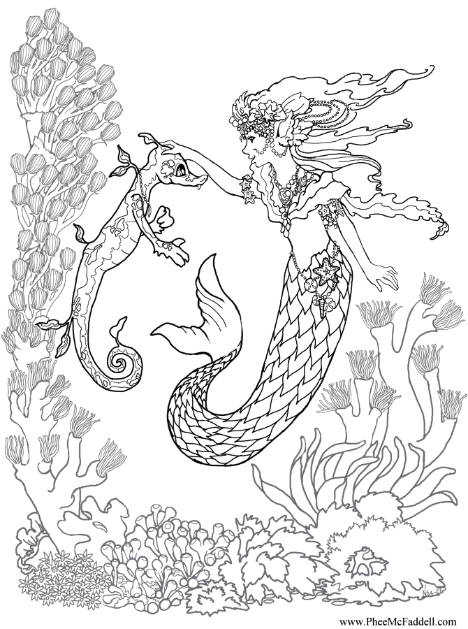 mermaid training a seahorse coloring page (With images