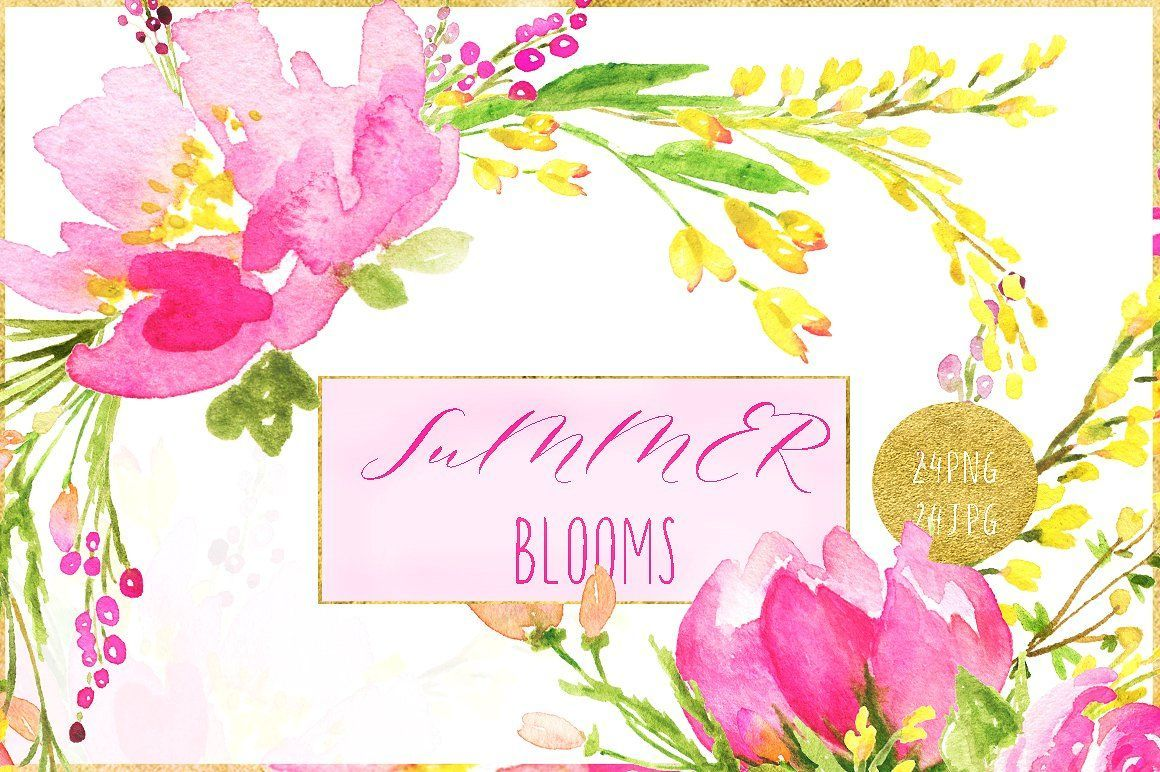 Summer Blooms Watercolor Clipart Bright Pink Blush Sparkling Pink