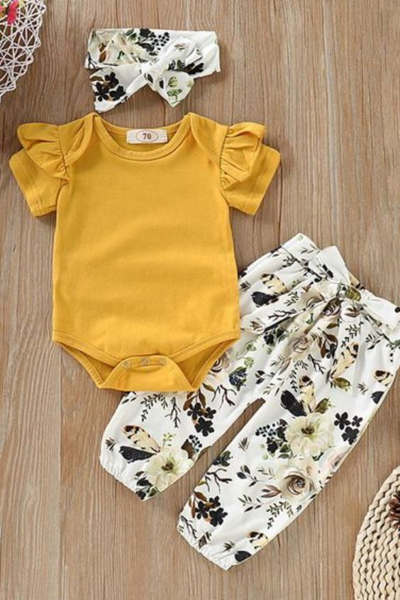 [US$ 13.99] 3-pieces Baby Girl Floral Cotton Set -