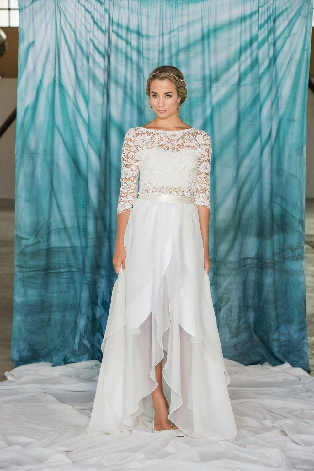 A gorgeous two-piece wedding dress to change up your look in an ...