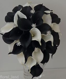 Wedding Bouquet Latex Black White Diamante Calla Lily Flower Collingwood Flowers