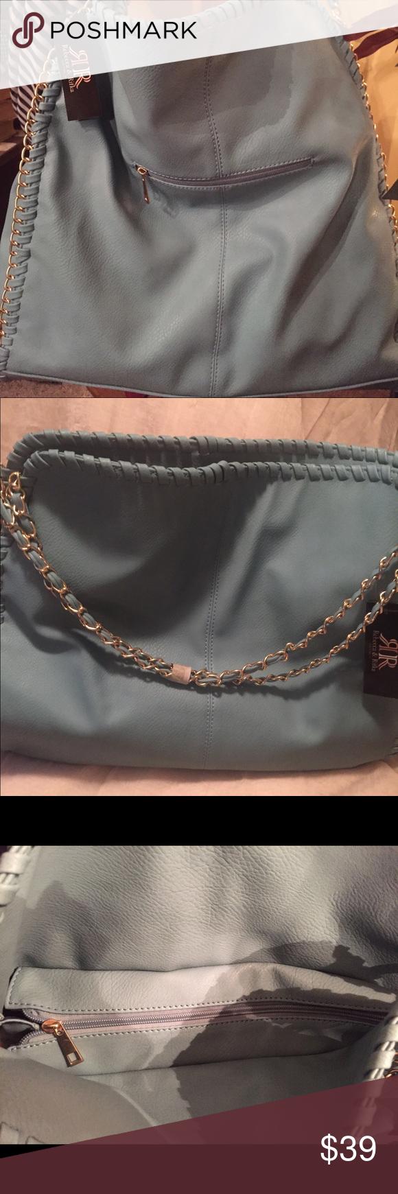 NWT- Rebecca&Rifka FauxLeather Large HB blue/green NWT- Rebecca&Rifka Faux Leather Large Tote Handbag Light blue/green gold chain rebecca&rifka Bags Totes