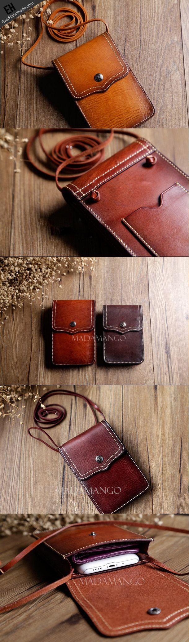Handmade Leather phone bag shoulder bag for women leather crossbody ...