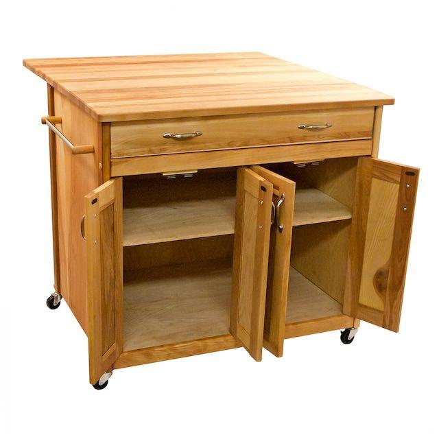 Deep Island Drop Leaf Kitchen Cart Kohls In 2021 Natural Wood Kitchen Kitchen Cart Rolling Kitchen Island