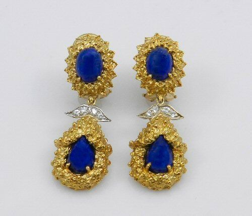 VINTAGE 18K YELLOW GOLD LAPIS DIAMOND DROP EARRINGS | eBay
