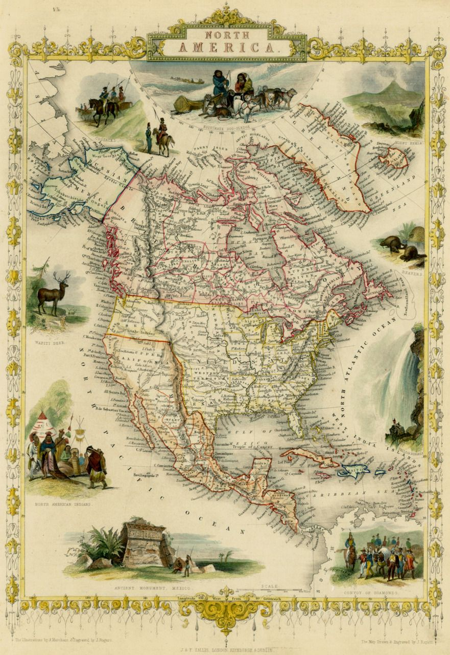 This Map Of North America Was Made In 1851 By John Tallis Our