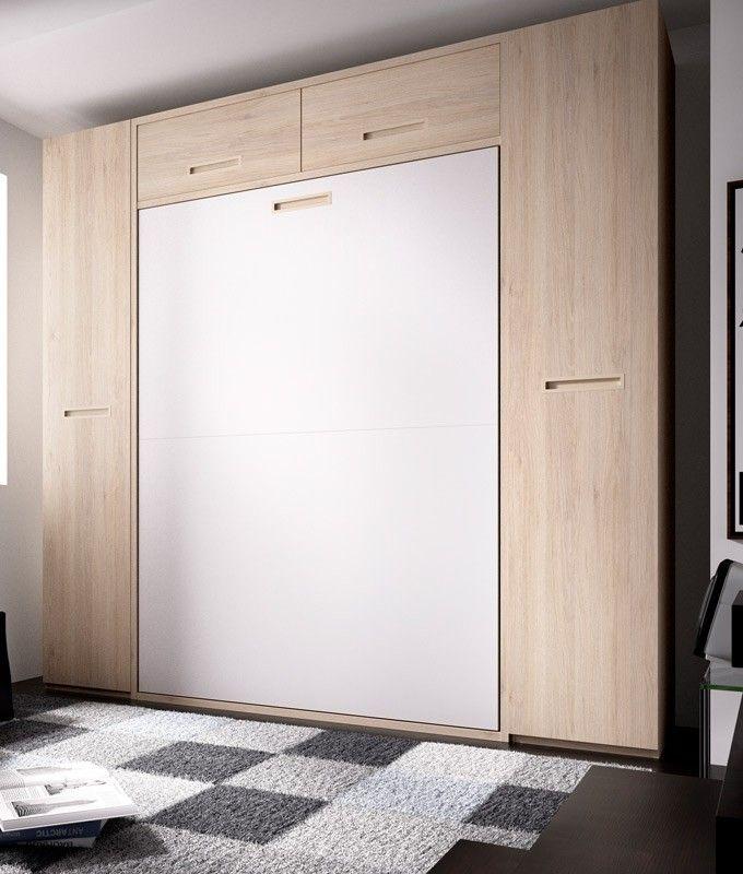 Dormitorio cama matrimonial abatible con armarios a los lados ...