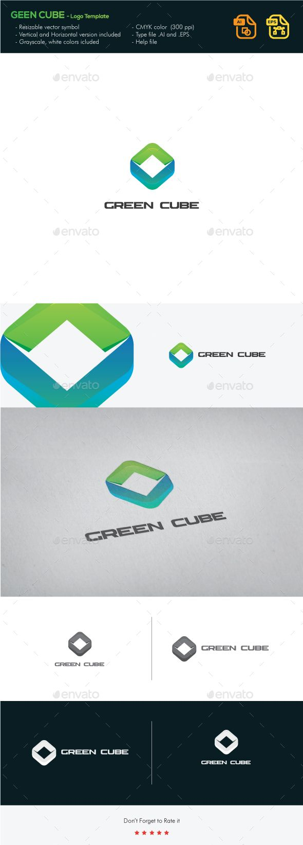 Green Cube  — EPS Template #blue #design #hexagon • Download ➝…