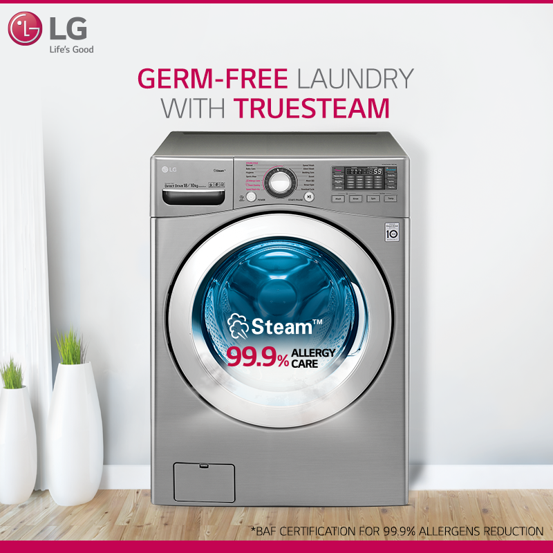 Thoroughly Disinfected Thoroughly Clean With Lg Front Loading Washing Machine The Truesteam Technolo Front Loading Washing Machine Washing Machine Ad Design