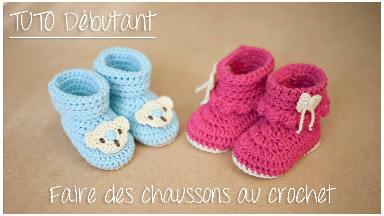 Chaussons bottines au crochet pour débutant (Taille naissance à 12 ...