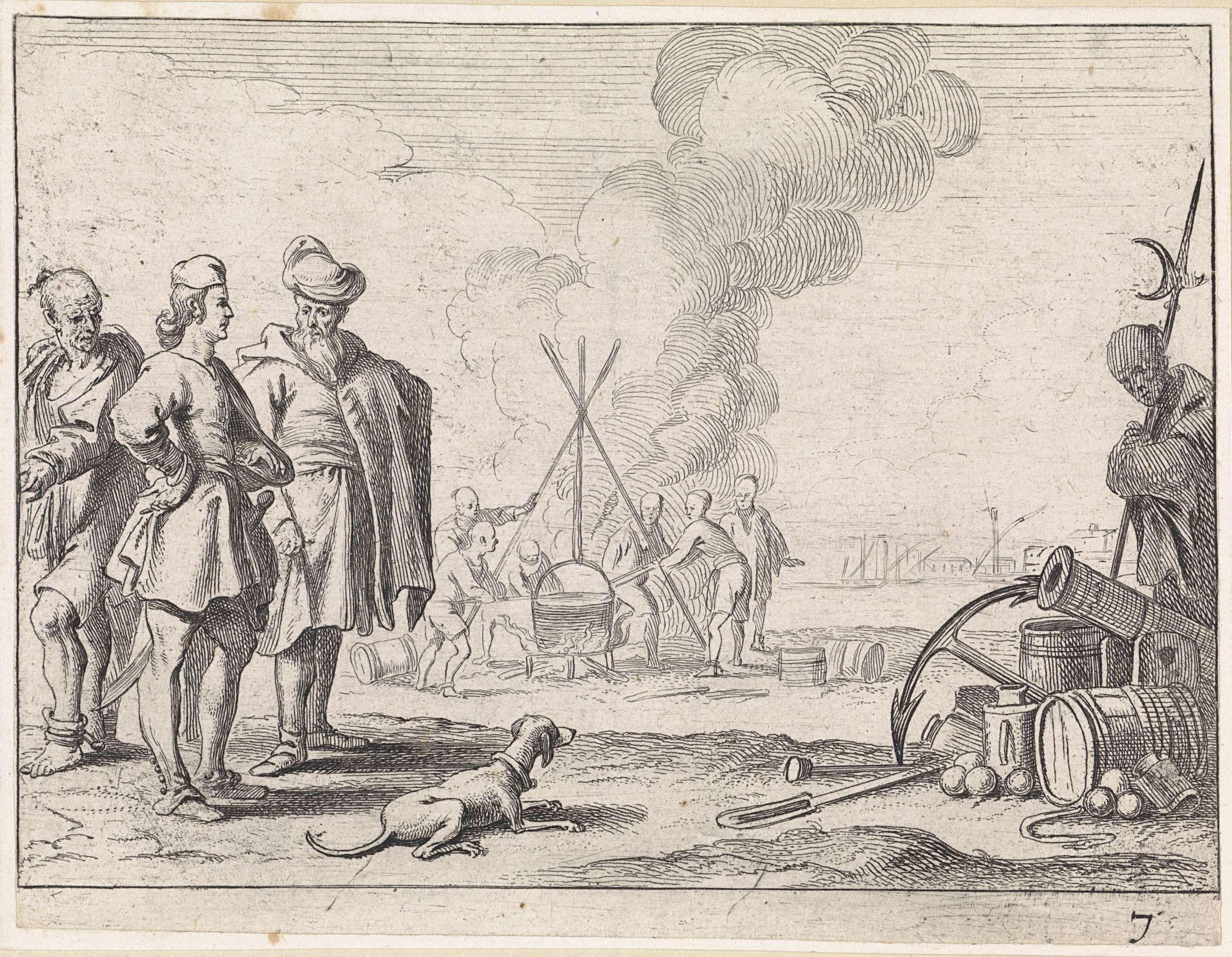 Cornelis de Wael | Twee zeelieden en een slaaf op het strand, Cornelis de Wael, Anonymous, 1647 | Twee zeelieden zijn in gesprek op het strand. Een slaaf vergezelt hen. Voor hen een hond. Op de achtergrond slaven die koken in een ketel op het strand.