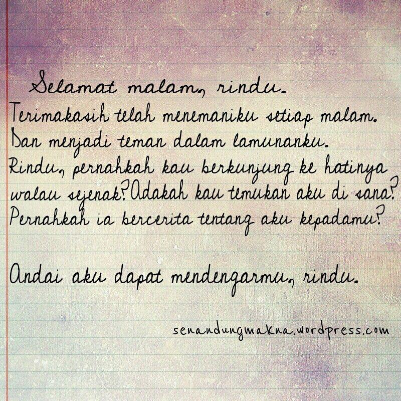 Selamat Malam Rindu Quotes Puisi Indonesia Mutiara Kata