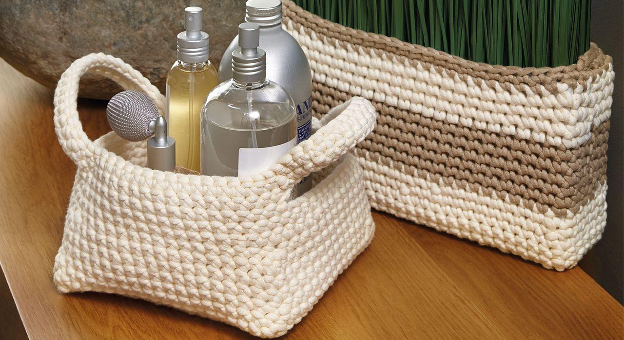 Salle de bain des rangements crocheter crochet - Paniers de rangement salle de bain ...