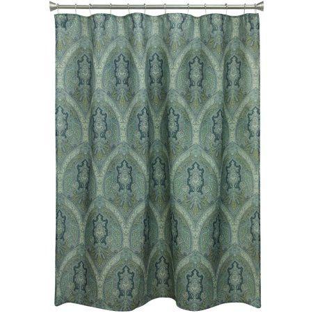 Bacova Guild Navy Damask Shower Curtain Blue