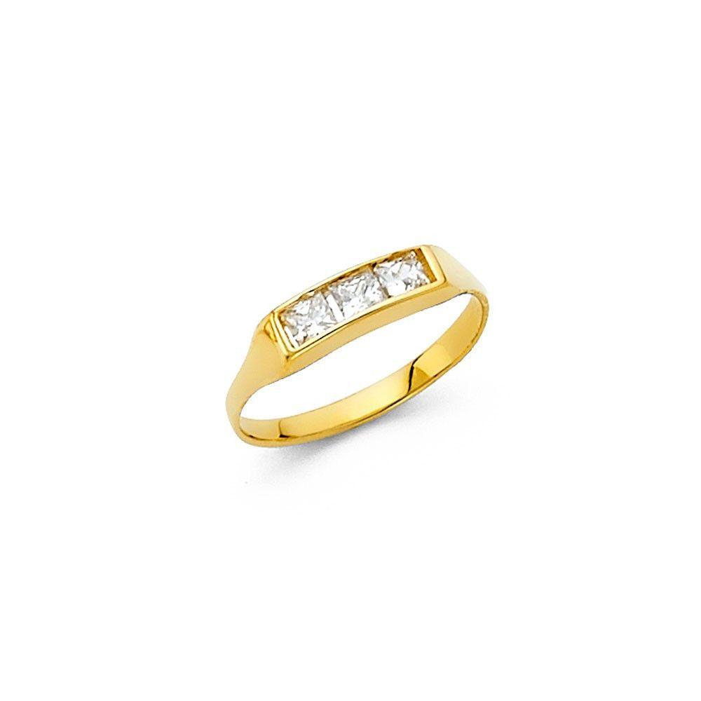 14K Yellow Gold CZ Babies Ring 2mm