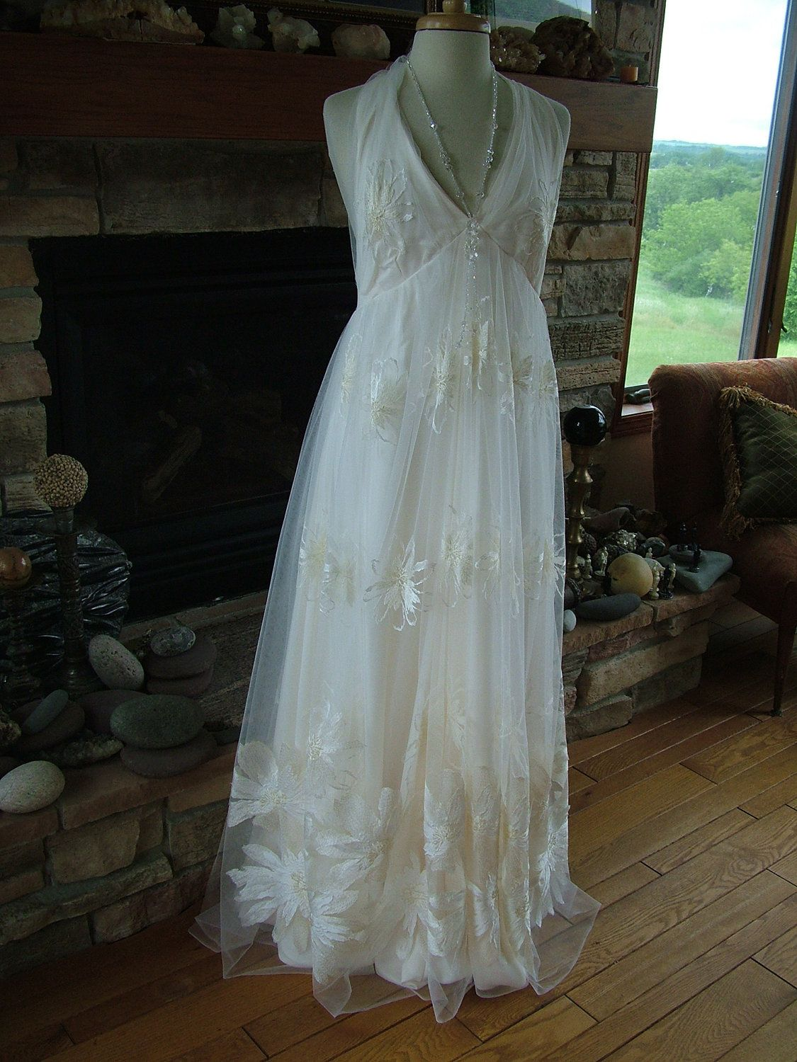 Handmade wedding dress bohemian chic hippie fairy halter bridal gown