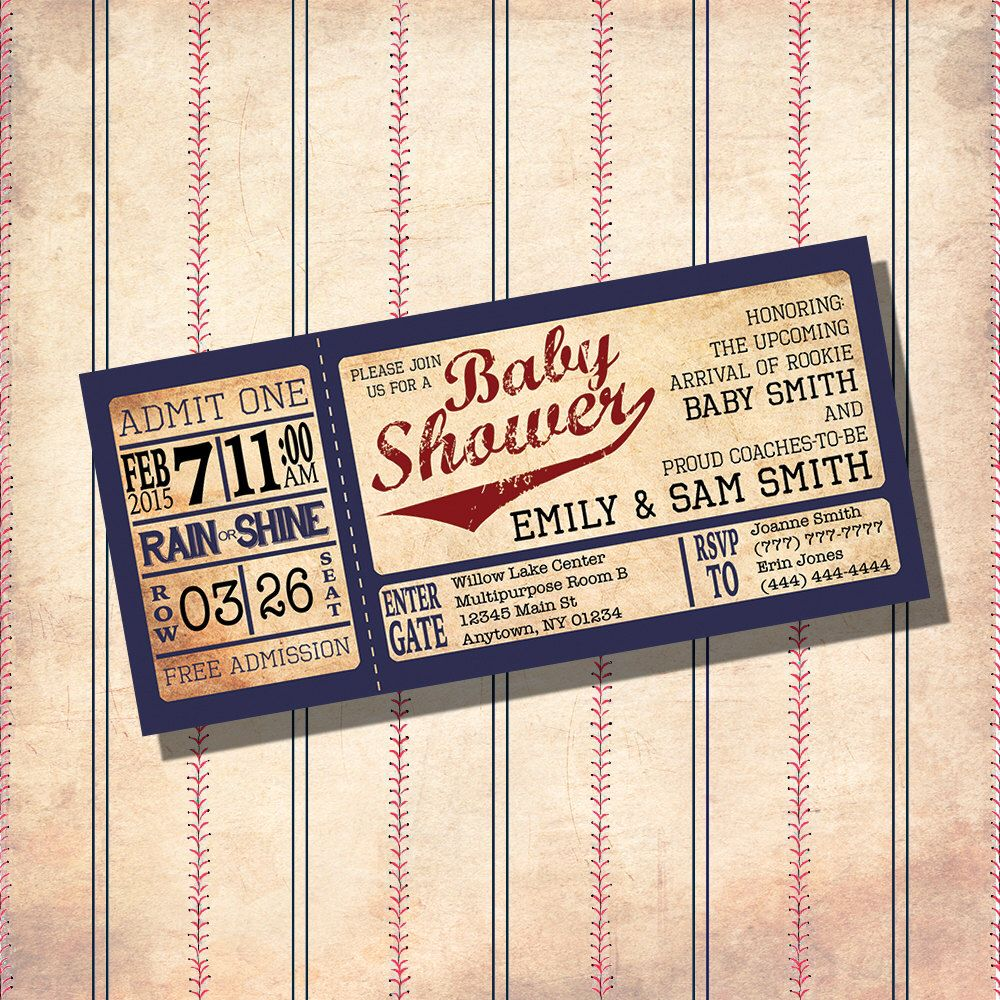 Vintage Baseball Theme Baby Shower Invitations- CUSTOM ...