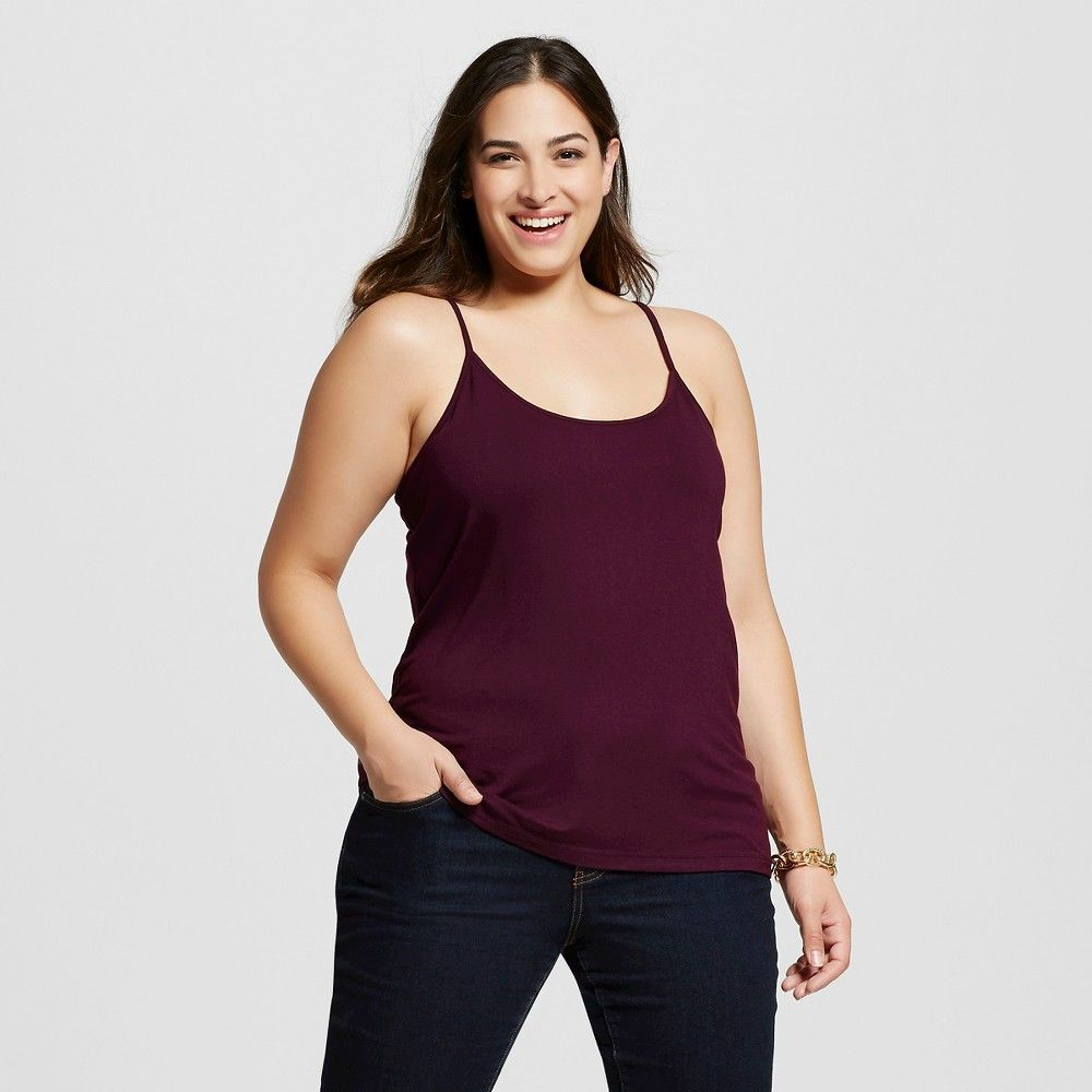 Women's Plus Size Cami Atlantic Burgundy 1X - Ava & Viv