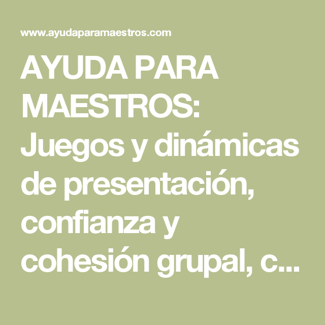 Ayuda Para Maestros Juegos Y Dinamicas De Presentacion Confianza Y