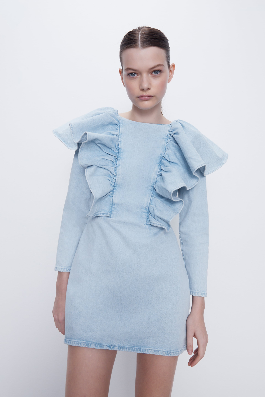 Ruffled Denim Dress Zara United States Denim Ruffle Dress Spring Fashion Denim Fashion [ 1500 x 1000 Pixel ]