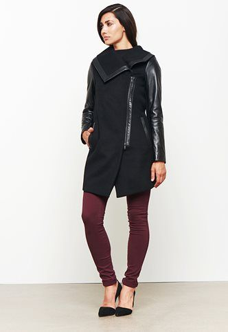 Danier Official Store, Tiana Wool And Lamb Leather Coat, merlot ...