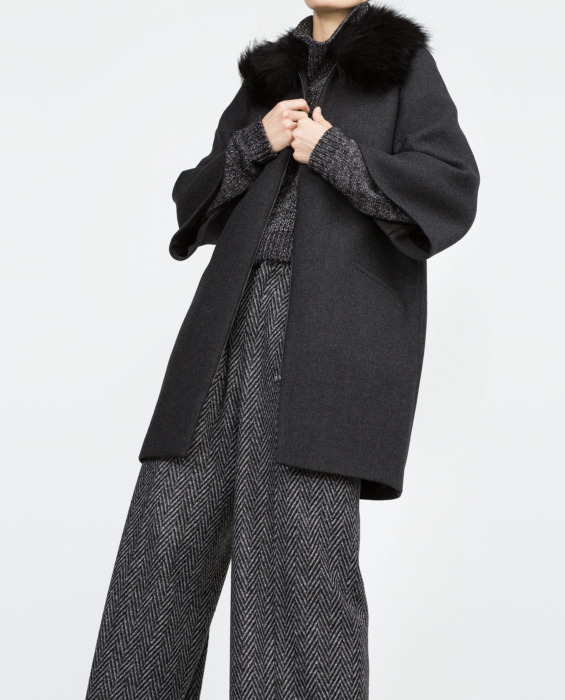 COAT WITH FURRY COLLAR - Coats - Outerwear - WOMAN | ZARA Georgia