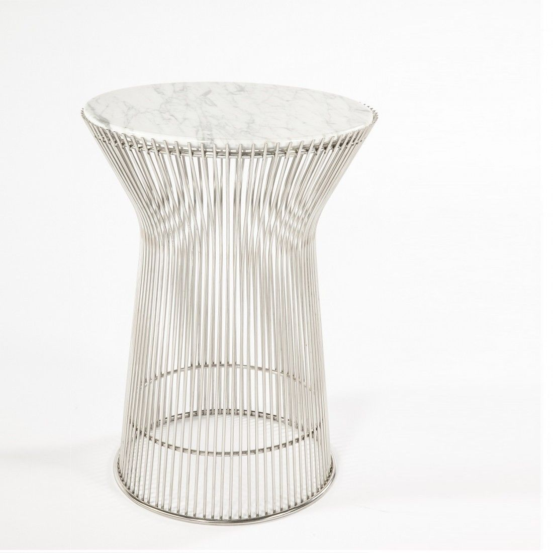 Warren Platner Marble Side Table With White Carrera Style Top