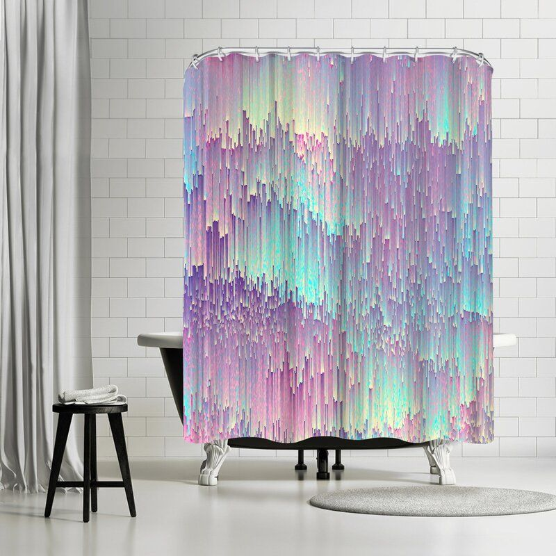 East Urban Home Emanuela Carratoni Iridescent Glitches Single Shower Curtain Vinyl Shower Curtains Shower Curtain Designer Shower Curtains