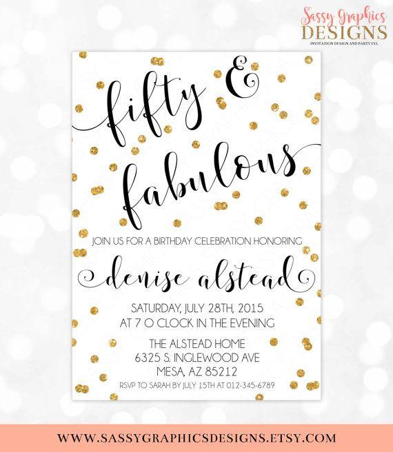 50th Birthday Invitation 40th 60th 50 And Fabulous
