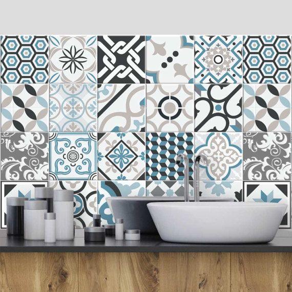 Ps00054 oslo adh sive d corative carreaux pour salle - Stickers pour carrelage mural cuisine ...