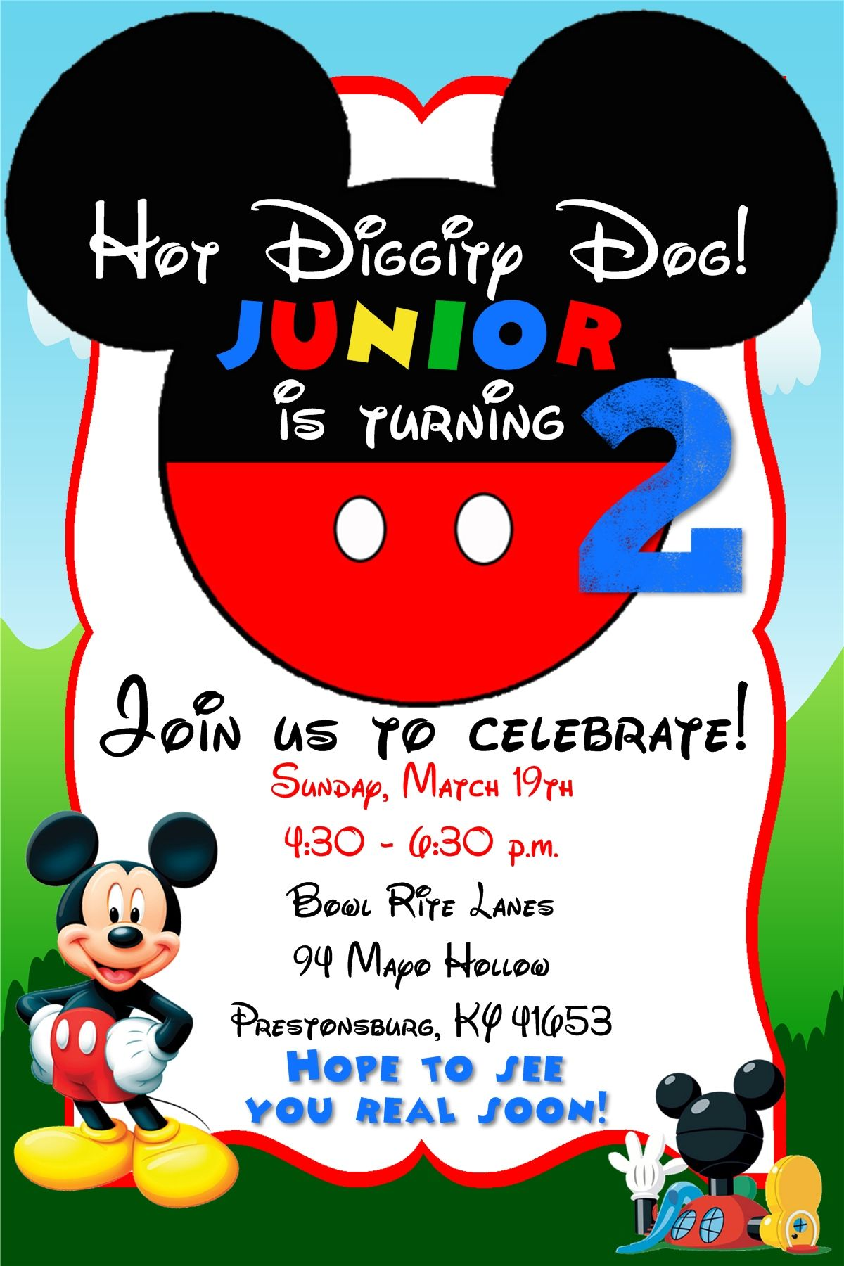 Hot diggity dog mickey mouse clubhouse birthday invitation hot diggity dog mickey mouse clubhouse birthday invitation contact me via email at aswiney01 stopboris Gallery