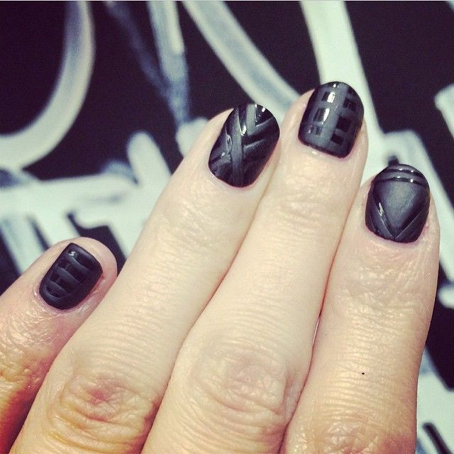 """Black matte design by our #Leeds WAH GIRL @Nails_by_ivy #wahupnorth book last min Christmas nails now!!"""